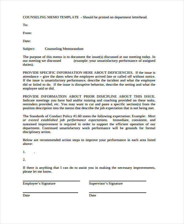 9 employee memo templates free sample example format for Counseling memo template