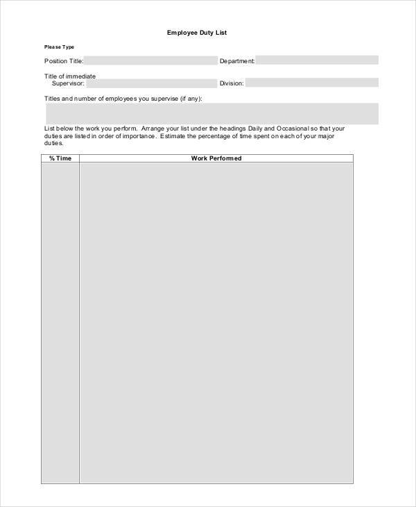 Employee Duty List Template  Employee List Template