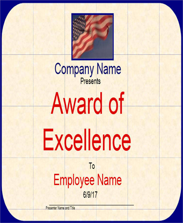 employee excellence award certificate