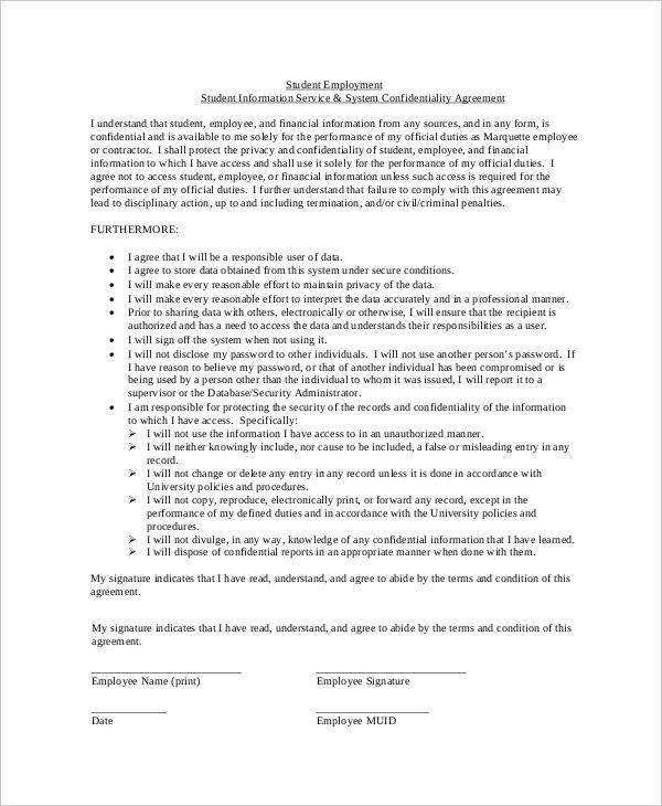 employee financial confidentiality agreement