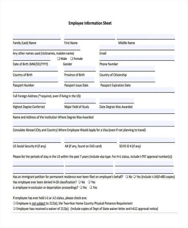 employee information sheet1