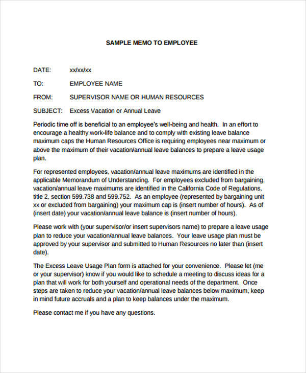 Employee Memo Template   Free Sample Example Format Download
