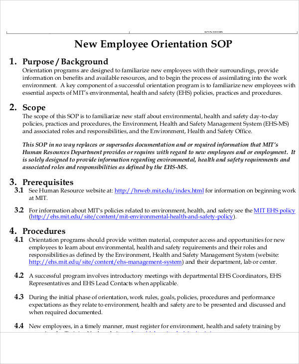 44 free sop template sample templates for Hr sop template