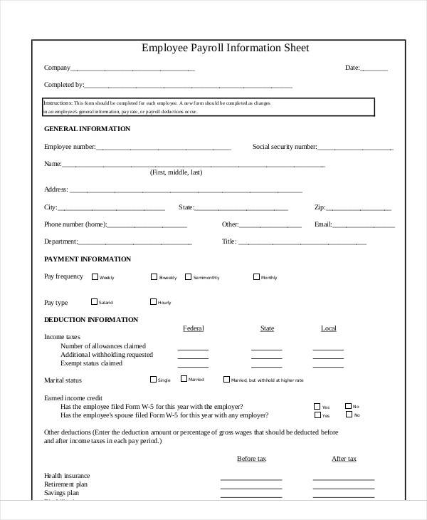 employee payroll information sheet