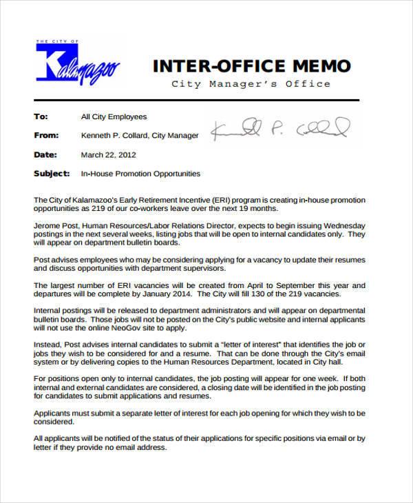 free 9  employee memo templates in pdf