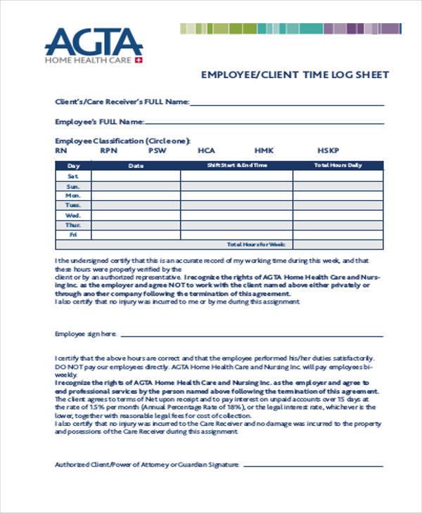 employee time log sheet