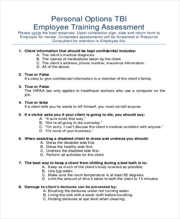 employee training assessment
