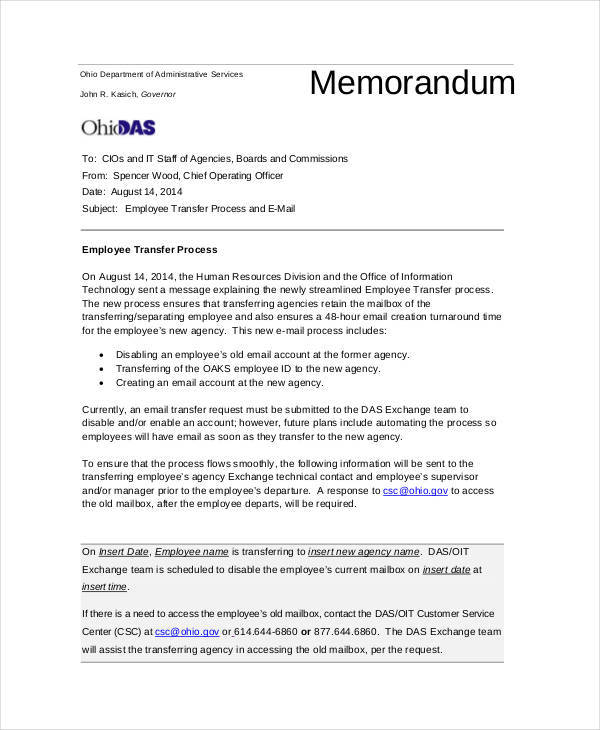 Employee Memo Template 10 Examples in Word PDF – Employee Contact Information Template
