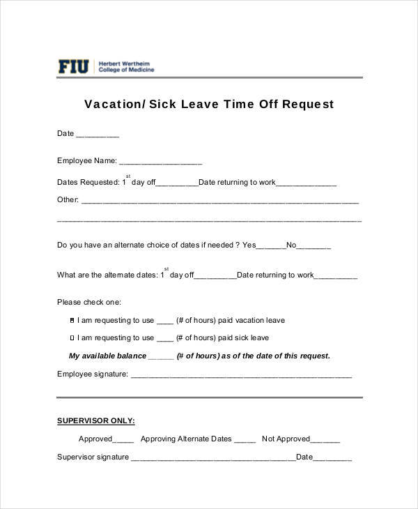 employee vacation time off request1