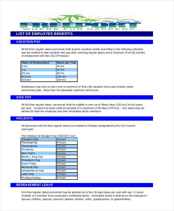 employee benefits list sample