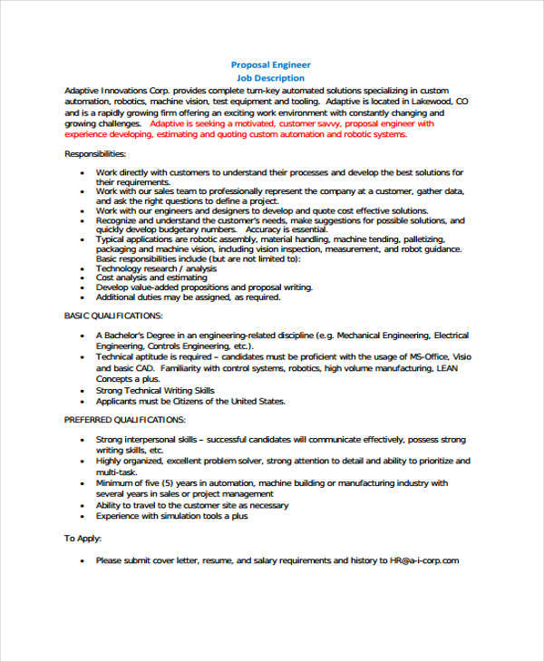 engineering job proposal