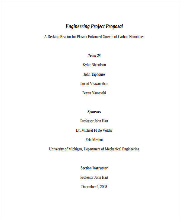 Engineering Proposal Templates  Free Sample Example Format