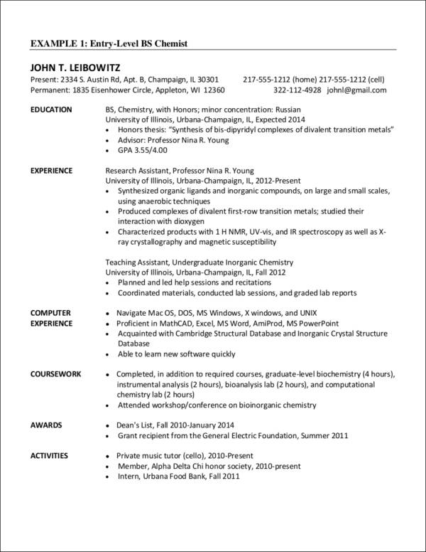 Entry Level Chemist Resume Sample  Chemist Resume