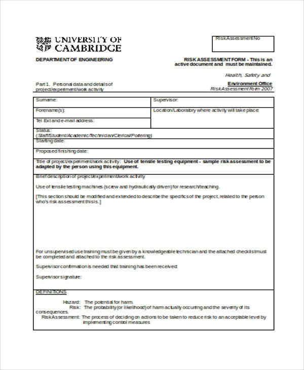 FREE 35+ Risk Assessment Form Samples in PDF | MS Word
