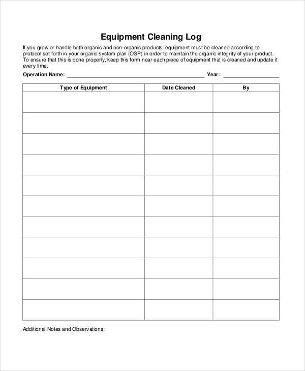 equipment cleaning log sheet