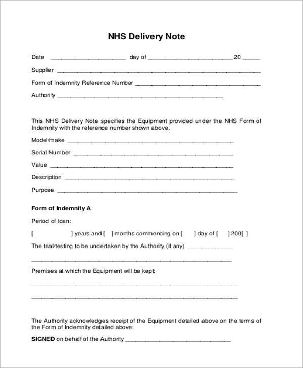 equipment delivery note