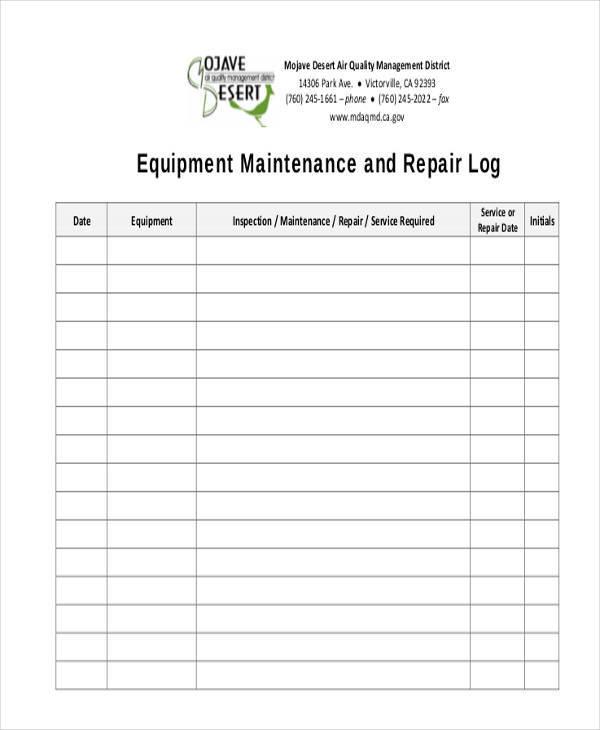 equipment maintenance log sheet2