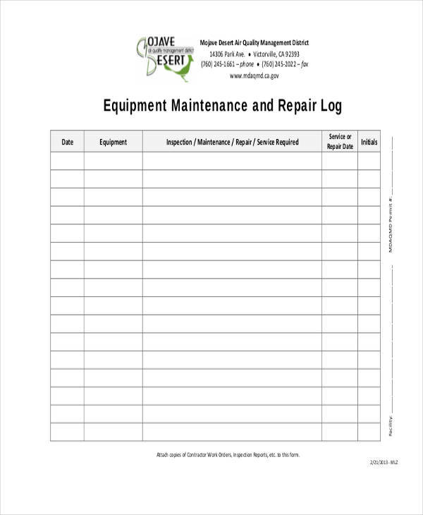 equipment repair log sheet