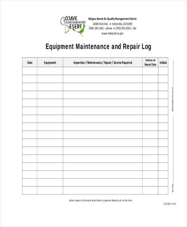 equipment repair log sheet