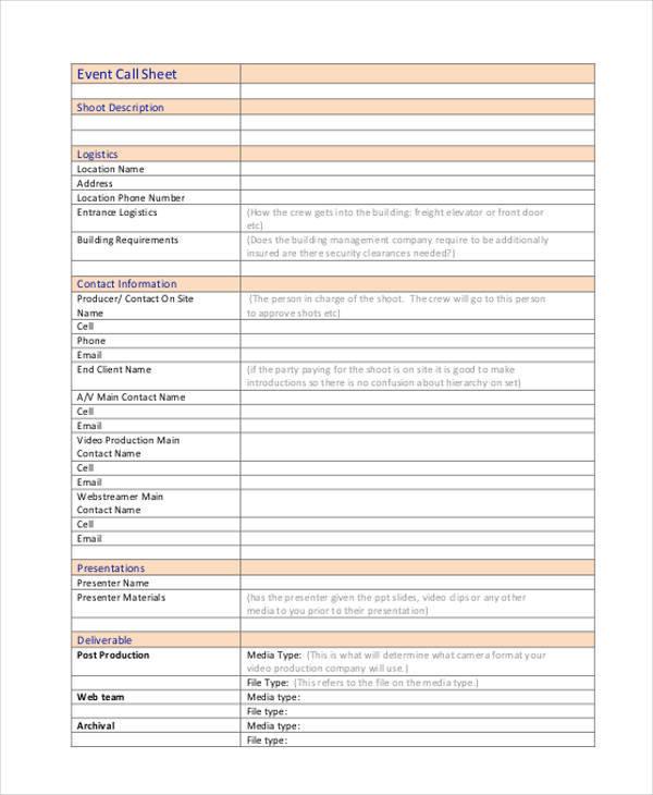 event call sample sheet