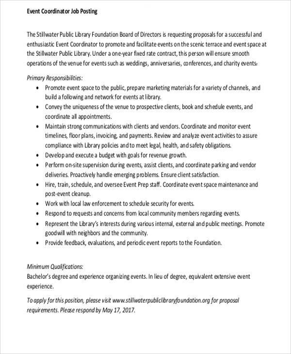event coordinator job proposal