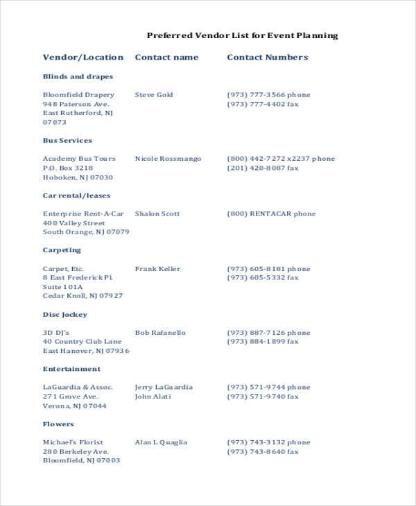 event planner vendor list