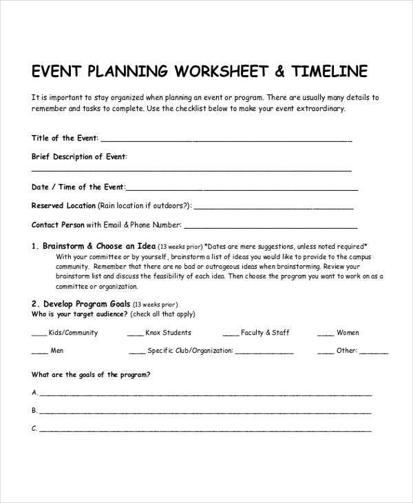 event planning information sheet
