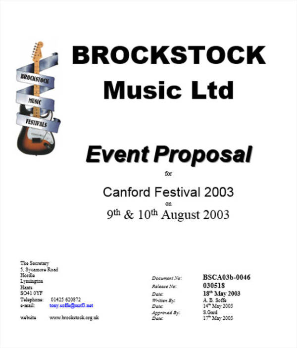 event proposal for music