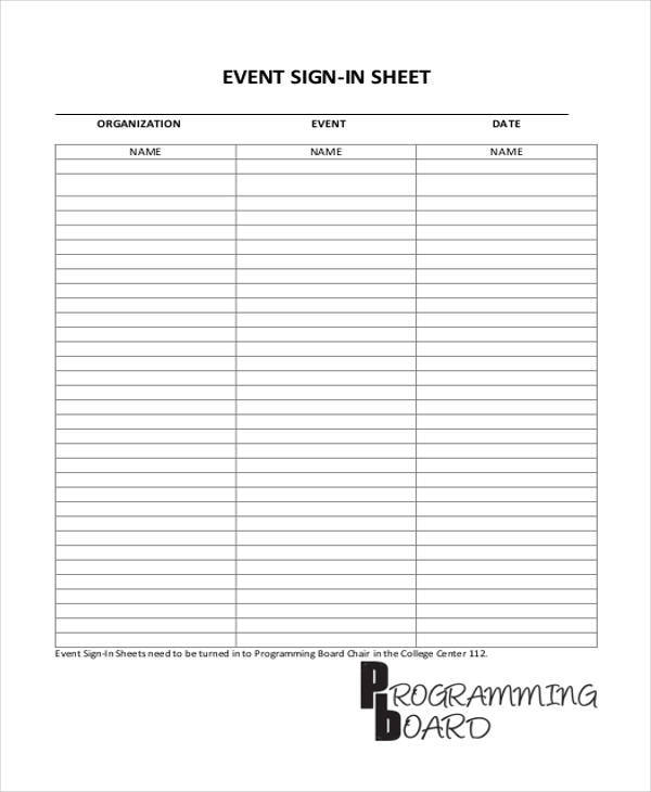 sign in sheets for events