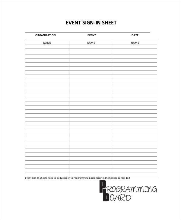 event sign in sample sheet1