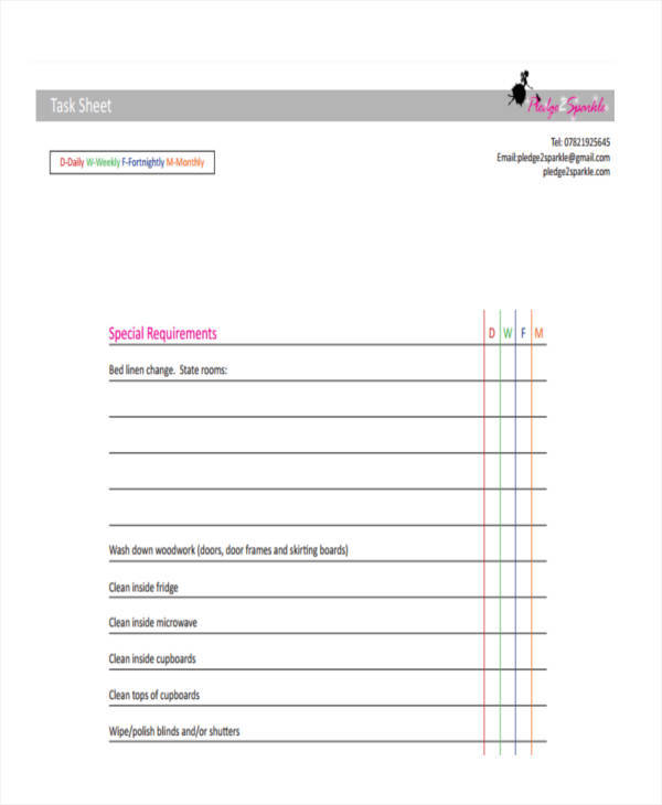 example of task sheet template