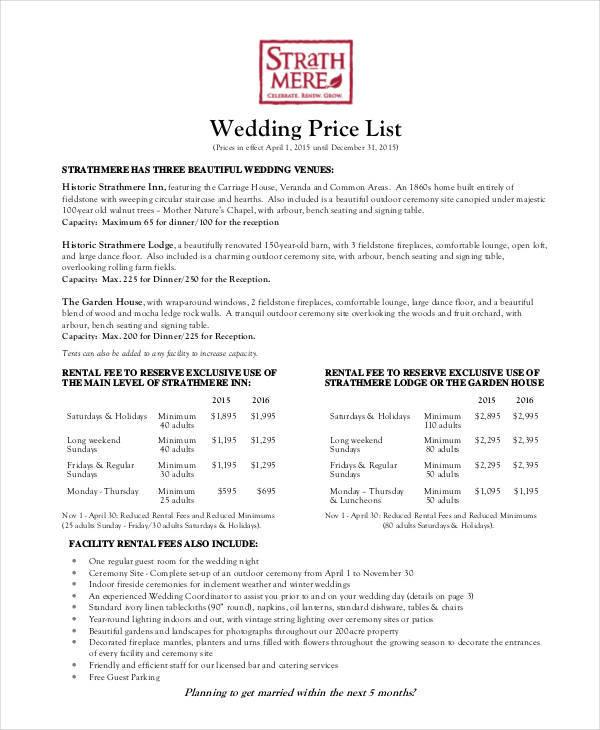 example of wedding price list