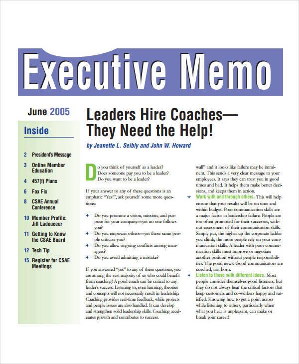 executive memo sample