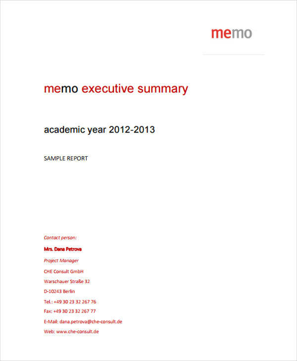 Executive Memo Template  Free Sample Example Format Download