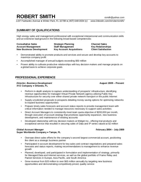 experienced professional sample resume