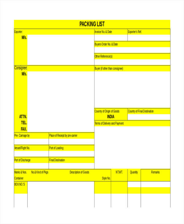 export packing list