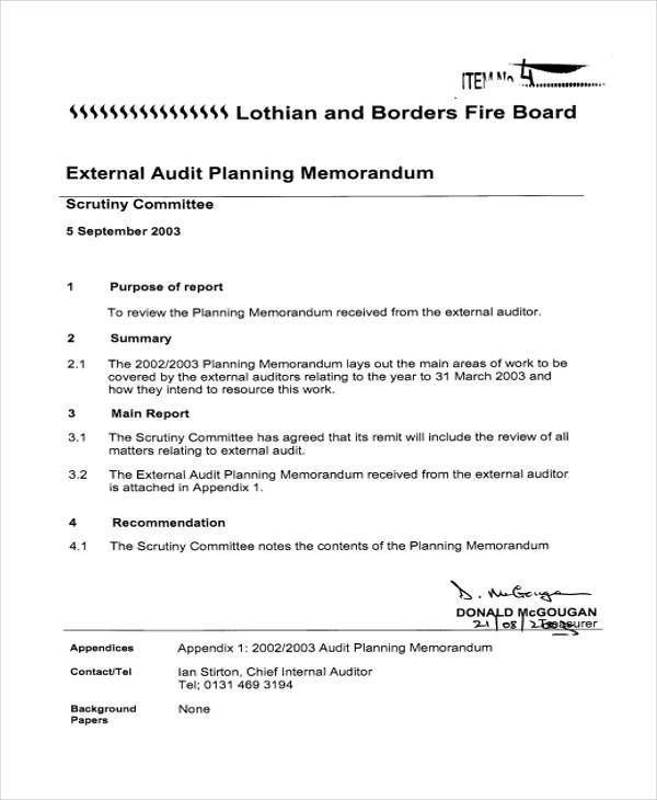 External Memo Templates Audit Planning Memorandum Template Audit