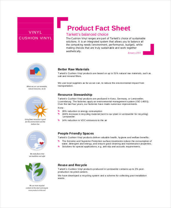 fact sheet for product