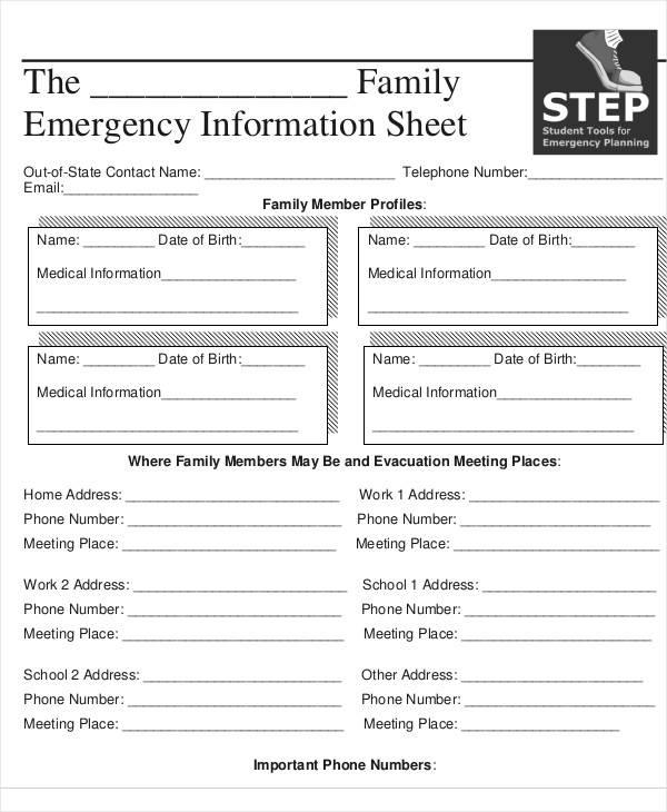 family emergency information sheet
