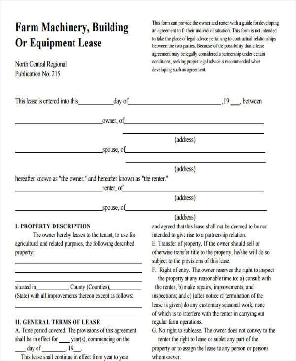 farm equipment lease agreement1