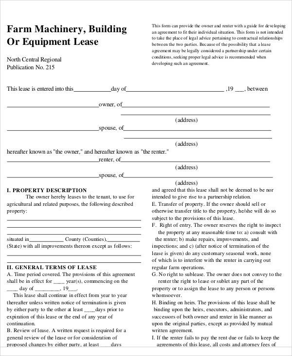 37 lease agreements in pdf sample templates for Farm rental agreement template