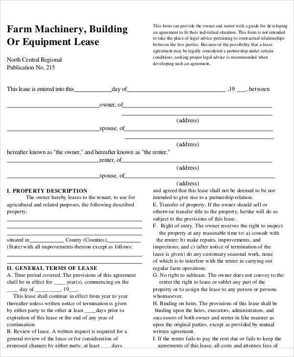 27 lease agreement samples sample templates for Farm partnership agreement template