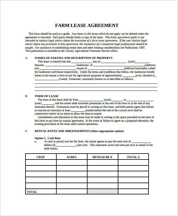farm land lease agreement4