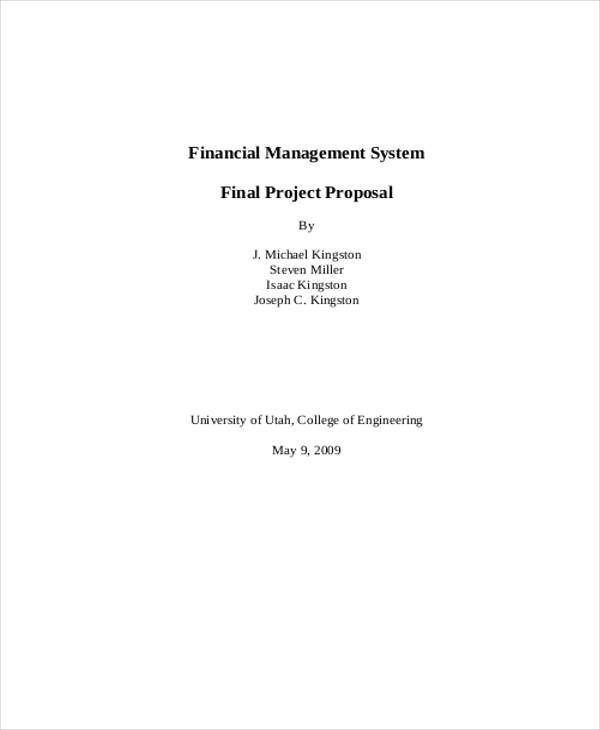 financial proposal for project