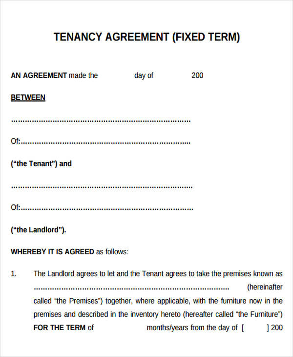 fixed term printable lease agreement