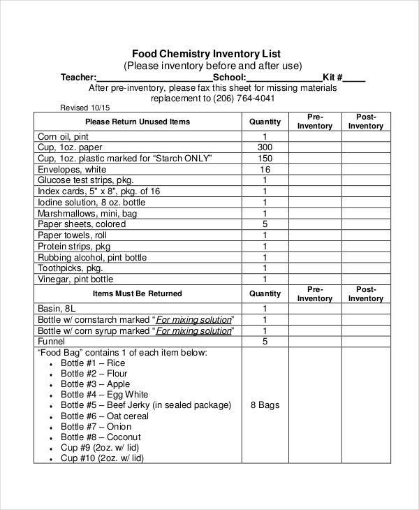 Food List Samples  Templates  Pdf Doc