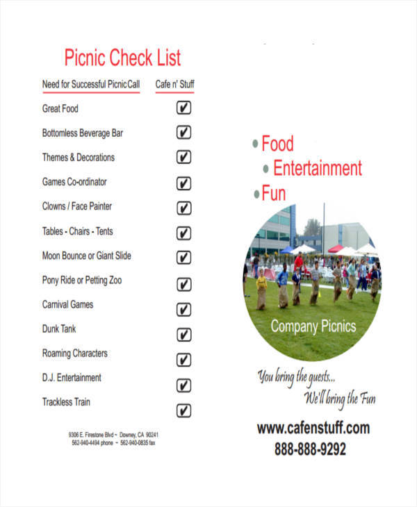 food list template for picnic