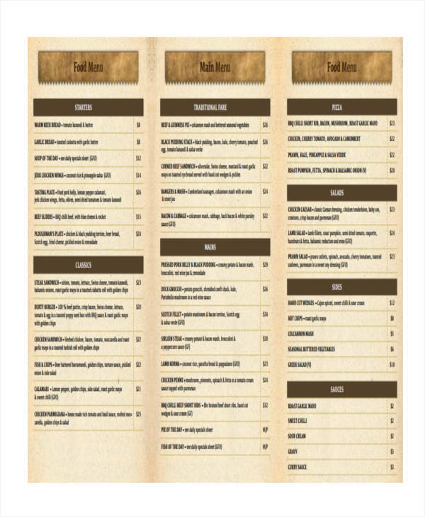 Menu List Samples - 9+ Examples In Word, Pdf