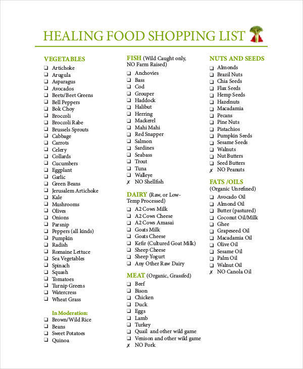 Food List Sample - 9+ Examples In Word, Pdf