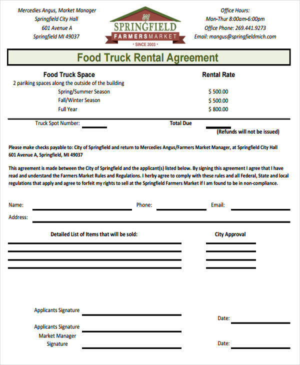 Food Truck Lease Agreement